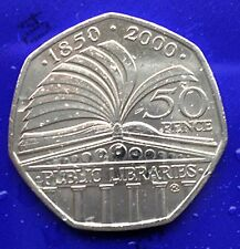 2000  UK 50p - 150th Anniversary of the Public Library System coin