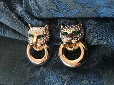 Vintage Panther Leopard Cat Pave Emerald Rhinestone Eyes Clip on Earrings