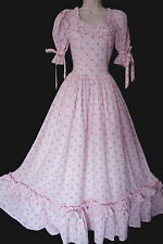 VINTAGE LAURA ASHLEY VICTORIAN ROMANTIC PINK ROSEBUDS MAXI BRIDESMAID DRESS UK 8