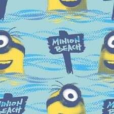 "Despicable Me Blue-Minion Beach 100% cotton 43"" fabric by the yard 36"""