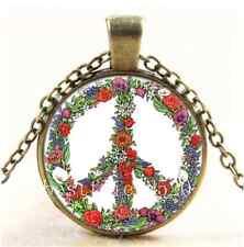 Vintage Peace Flowers Photo Cabochon Glass Bronze Chain Pendant Necklace
