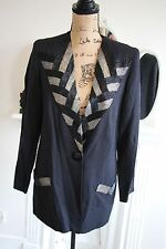 Ladies Gina Bacconi Beaded Silver Black Blazer Suit Jacket 10 12 Formal