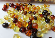 Multi-Color Natural Baltic Amber Round Loose With Holes Beads 100 pc