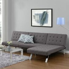 Gray Sectional Sofa Sleeper Set Upolstered Couch Futon & Chaise Furniture SALE!