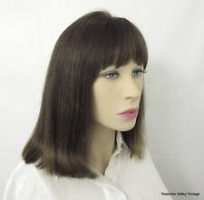 "Wig 100% Human Hair Brown West Bay 13"" Long Bob 3 1/2"" Bangs"