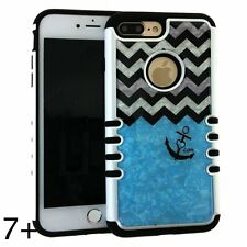 For iPhone 7+ Plus - HYBRID HARD & SOFT CASE COVER CRYSTAL BLUE CHEVRON ANCHOR