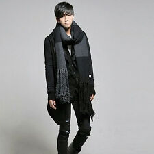 New Fasion Men's Winter Warm Long Knitted Scarves Black Thick Scarf Stole Wraps