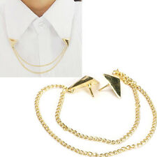 Hot Spike Stud Blouse Shirts Collar Neck Tip Brooch Pin Chain Punk