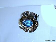 14k Sterling Silver Modernist Brutalist Freeform Blue Topaz Ring Mystery Mark H