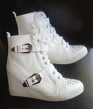 First Love by Penny Loves Kenny High top Wedge Sneakers sz 7.5 WHITE new