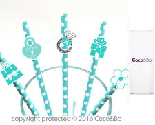 Coco&Bo 10 x Breakfast at Tiffany's Party Straws - Cocktail Drink Decorations