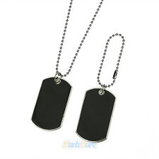 Black 2 Dog Tags Chain Beauty Mens Pendant Necklace Army Style Free US Shipping