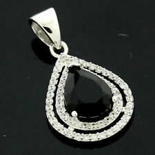 Sterling Silver Cubic Zirconia Micro Pave Set Pear Zirconia  Pendant +Chain