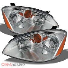 Fits 02-04 Altima 4 Door Sedan Amber Chrome Clear Headlights Headlamps Pair Set