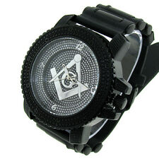MENS ICED OUT ICE NATION BLACK MASONIC HIP HOP WATCH WITH BULLET BAND