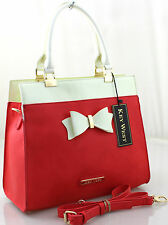 Ladies  Attractive Smart Fashion Designer Key West Bow Shoulder Handbag Coral
