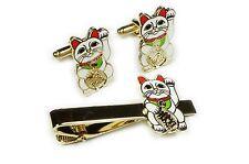 Maneki Neko Lucky Cat Japanese Talisman Suit Wedding TIE BAR CLIP CUFFLINKS SET