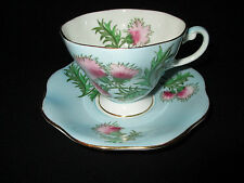 FOLEY BONE CHINA TEA CUP & SAUCER SET BLUE GLENGARRY THISTLE PERFECT ENGLAND