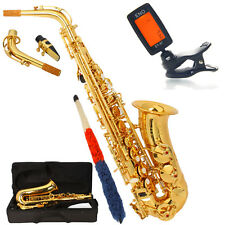 New Professional Gold Eb Alto Sax Saxophone with Case & Digital Tuner