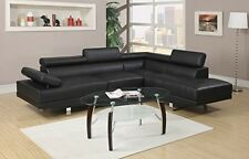 Leather Sectional Sofa Living Room Modern Furniture Black Contemporary Set 2 Pcs