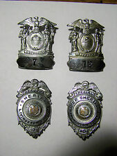 Obsolete 1940's Livingston County New York 4 BADGE LOT, Sheriff & Hat W/ LOW #'s