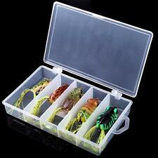 5pcs Soft Frog Fishing Lure Hook Set Topwater Tackle Bait with Fishing Box AF