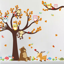 Huge Jungle Animals Tree Owls Monkey Wall Sticker Kids Room Decor Vinyl Decals