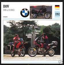 1992 BMW 1000cc R100GS R100 GS R1 980cc Motorcycle Photo Spec Sheet Info Card