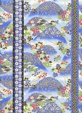Hills of Flowers:  Blue/Gold Asian Japanese Quilt Fabric (1/2 Yd.)