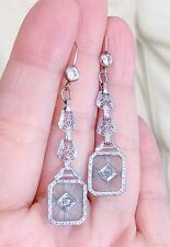 GORGEOUS ART DECO CAMPHOR GLASS STERLING SILVER CRYSTAL WIRE DANGLE EARRINGS