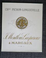 CHATEAU PICHON LONGUEVILLE Margaux Montlouis Gasparoux ancienne étiquette