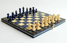 BRAND NEW HAND CRAFTED BLUE MAGNETIC TRAVEL WOODEN CHESS SET 27cm