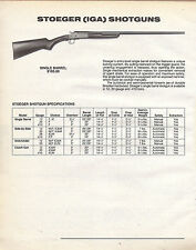 1992 Stoeger (IGA) Single Barrel Shotgun AD w/ specs & price