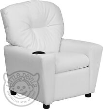 WHITE RECLINER KIDS/CHILDRENS ARMCHAIR/GAMES CHAIR/SOFA/SEAT in PU LEATHER LOOK