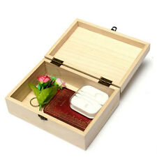 New Storage Box Natural Wooden With Lid Golden Lock Postcard Home Organizer