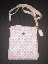 EUC COACH WAVERLY SIGNATURE CROSSBODY SWINGPACK WHITE PINK BLUE GREEN 43625 HTF