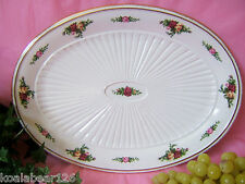 "Royal Albert Old Country Roses Oval FLUTED platter 13.5"" New Box shows shelfwear"
