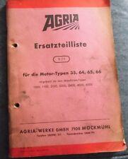 Agria Ersatzteilliste für die Motoren Typen 35 , 64 , 65 , 66