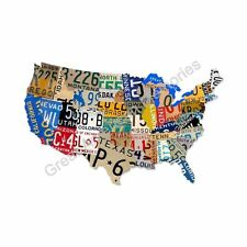 United States of America Licence Plate Metal Sign US Map USA Americana Garage