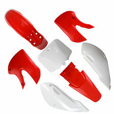 Dirt Bike Plastic Body Fairing Red For White KAWASAKI KLX110 KX65 Suzuki DRZ110