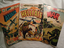 3 VINTAGE COMIC BOOKS - OUR FIGHTING FORCES - HELLCATS 60'S AND 70'S