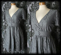 Goth Grey Lace Buttoned BOUND BY TIME Victorian Tea Dress 12 14 Vintage Lolita