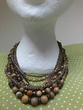 Picture Jasper stone beads Bronze Brass Cleopatra STATEMENT multi-layer NECKLACE