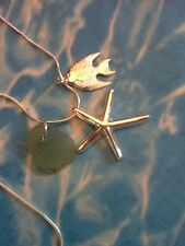 Light Sea foam Sea Glass From Japan Starfish Fish Charm Pendant Necklace