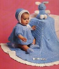 Patons Baby Knitting Pattern  copy Dress Bonnet bootees  UNUSUAL Design SHAWL