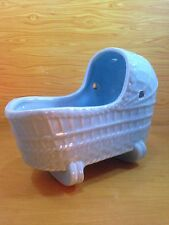 Vintage Ceramic Hanging Rocking Baby Cradle Flower Planter