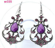 2014 1pair Tibetan Silver exquisite Chic Crystal Beaded dangle dragon Earring JP