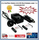 2 x Hero Gear GoPro HD, Hero2 Batteries + Wall/Car Charger Bundle AHDBT-001 002