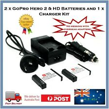 GoPro Hero 2 Battery Charger Bundle - 2 x Batteries + Wall / Auto Charger HERO2