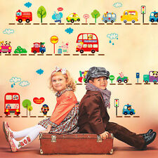 City Transport System,Train,Cars,School bus,Fire Truck Kids Mural Wall Decals